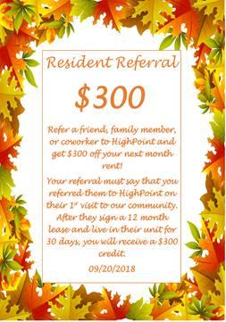Resident Referral Program!