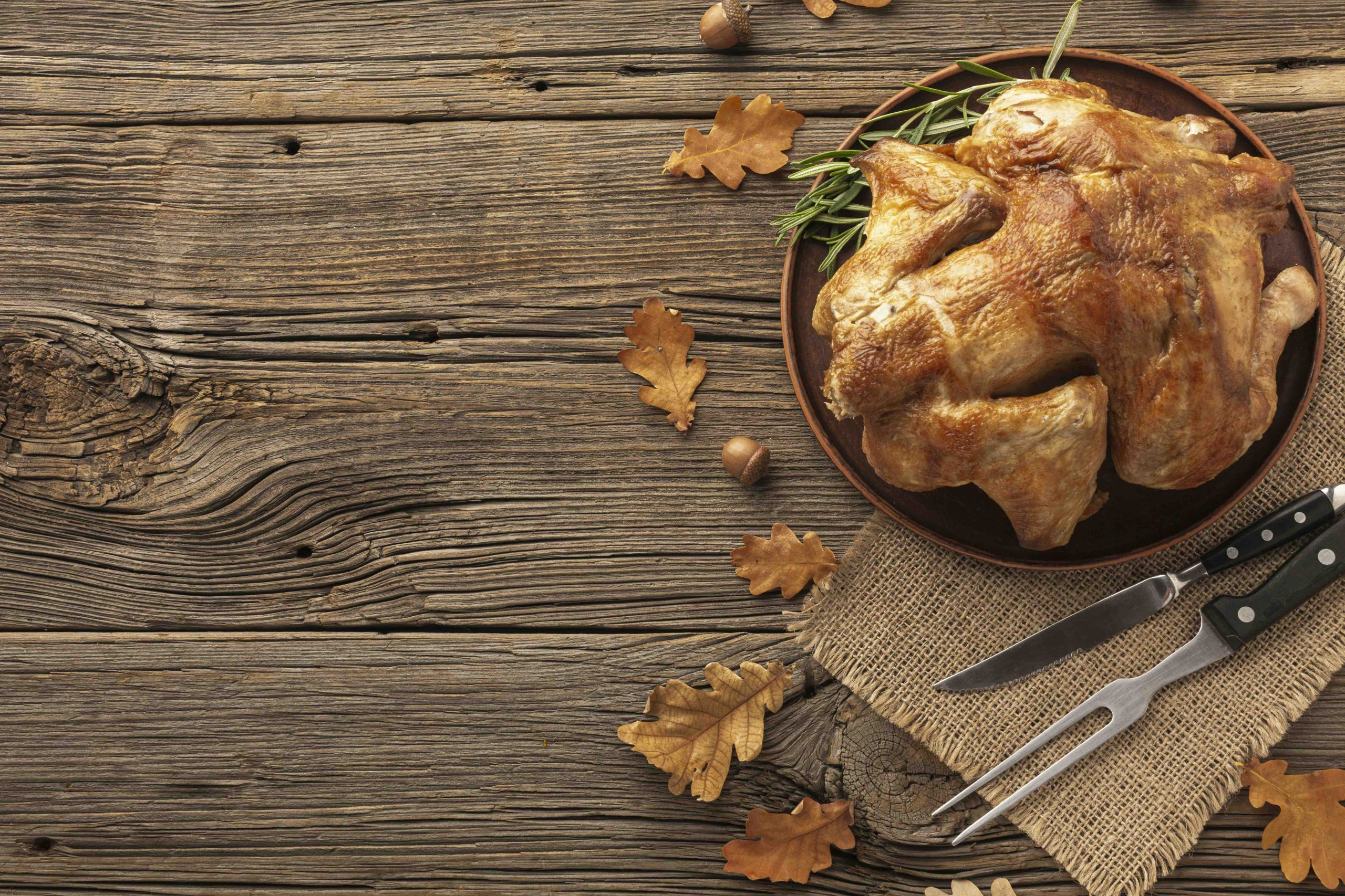 Turkey on table with leaves